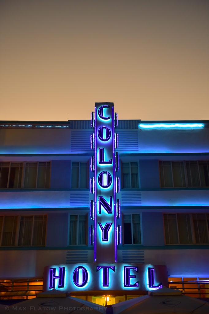 Colony Hotel at dusk. South Beach, Miami