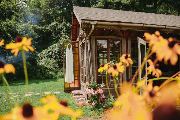 Gorgeous gardens and wedding dress at Foxfire Mountain House